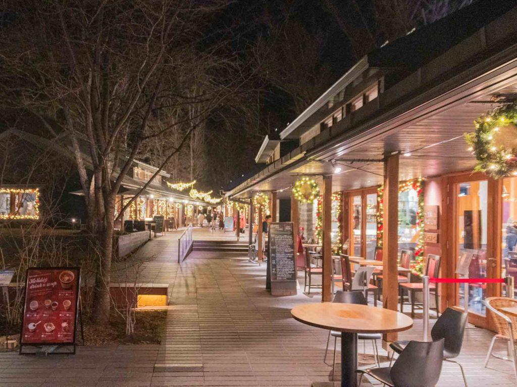軽井沢ハルニレテラスのレストランやショップの風景