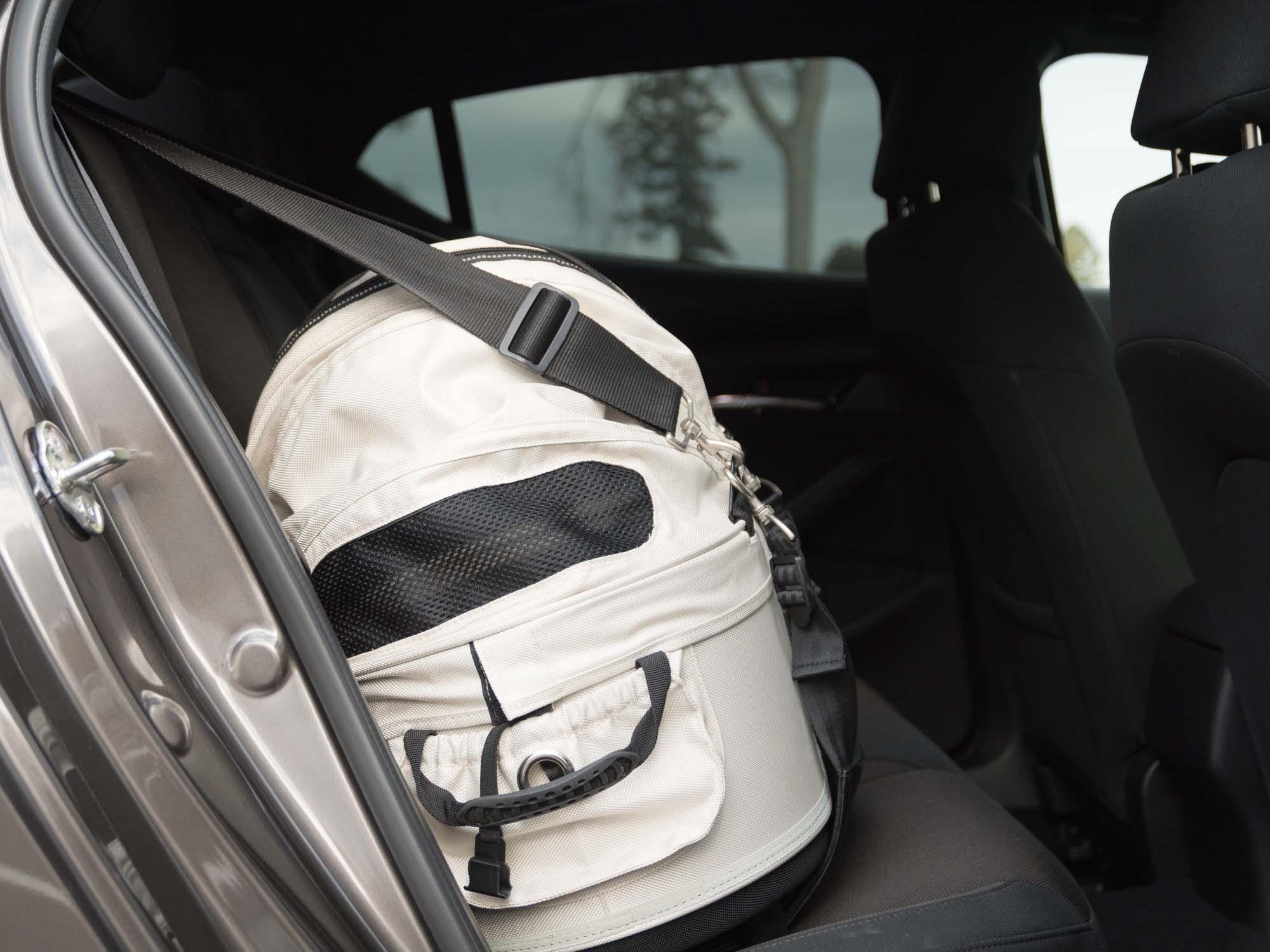 車の後部座席に設置された犬用カート